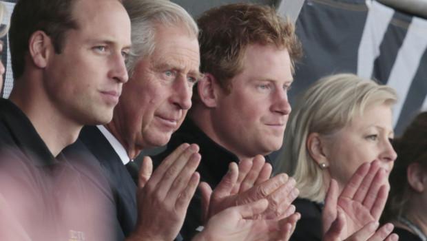 Les Prince Charles, Prince William et Prince Harry lors des Invictus Game à Londres le 11 septembre 2014.