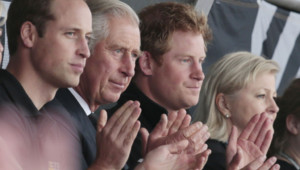 Les Prince Charles, Prince William et Prince Harry lors des Invictus Game à Londres le 11 septembre 2014.