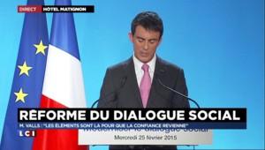 """Dialogue social : Valls veut le """"simplifier et clarifier pour lui rendre toute sa vitalité"""""""