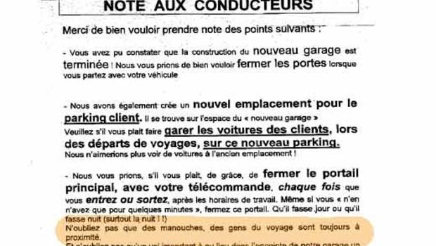 lettre Antoni Voyages plainte Licra manouches