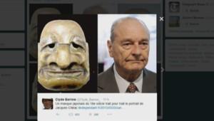 Un masque du XVIIIe siècle qui ressemble à Jacques Chirac.