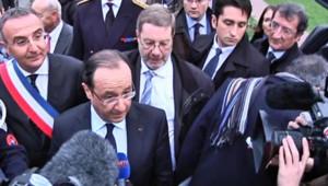 François Hollande à la rencontre des salariés de la raffinerie de Petroplus (Eure), le 05 janvier 2013.