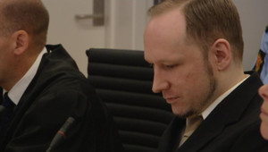 Anders Behring Breivik le 17 avril 2012 lors de son procès en Norvège