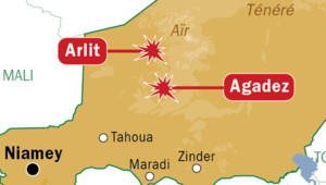 Carte de localisation d'Arlit et Agadez au Niger