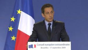 Nicolas Sarkozy à Bruxelles (18 septembre 2009)