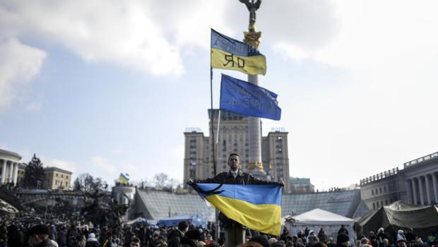 Ukraine : place de l'Indépendance à Kiev, 24/2/14