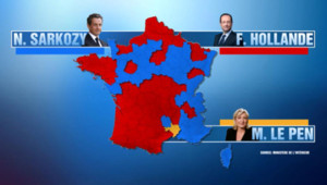 Carte du vote en France pour Hollande, Sarkozy et Le Pen