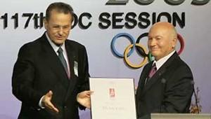 Jacques Rogge Yuri Luzhkov Moscou présentation JO 2012 Singapour