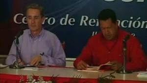 Hugo Chavez et Alvaro Uribe à Falcon le 11 juillet 2008