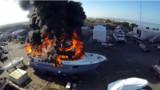 Il filme l'incendie d'un yacht de luxe avec son drone : les images