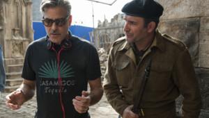 George Clooney et Jean Dujardin sur le tournage de Monuments Men