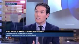 """Marine Le Pen réagit à l'intervention de Hollande : """"Elle est dans son rôle"""""""