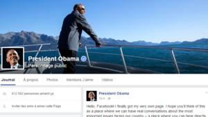 La page d'accueil Facebook du président américain Barack Obama