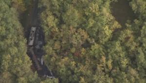 Les images aériennes de l'accident de la route en Gironde