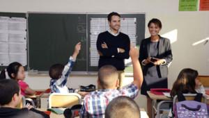 Najat Vallaud-Belkacem Genevilliers rentrée des classes nouveaux rythmes scolaires