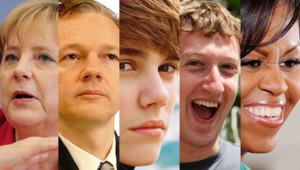 Montage avec photos d'archives, de gauche à droite : Angela Merkel, Julian Assange, Justin Bieber, Mark Zuckerberg et Michelle Obama.