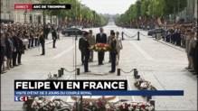 Hommage de la famille royale espagnole au soldat inconnu sous l'arc de Triomphe