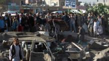 Yémen : dégâts à Sanaa après un bombardement de l'aviation saoudienne, 26/3/15