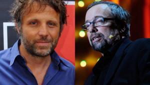 A gauche : l'humoriste Stéphane Guillon ; à droite, l'humoriste Didier Porte (montage)