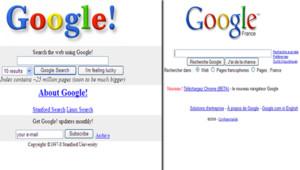 Google en 98 (à droite), Google en 2008 (à gauche)