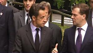 Nicolas Sarkozy et Dmitri Medvedev à Evian (8 octobre 2008)