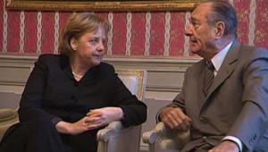 TF1/LCI - Angela Merkel et Jacques Chirac lors d'un sommet informel au château de Meseberg, près de Berlin, le 23 février 2007
