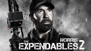 Affiche Chuck Norris dans Expendables 2. Un film de Simon West.
