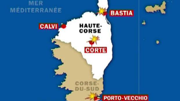 TF1/LCI Carte des attentas de Corse