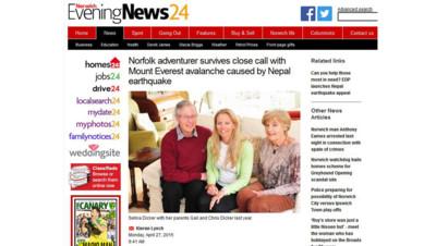 Norwich Evening News Selina Dicker Népal séisme