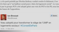 """Le Conseil de Paris adopte un """"voeu"""" pour transformer le siège de l'UMP en logements sociaux en cas de vente, 17/12/14"""