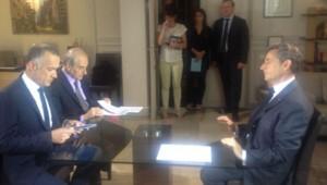 Nicolas Sarkozy, le 2 juillet 2013 avec Gilles Bouleau et Jean-Pierre Elkabbach.