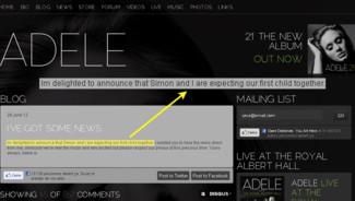 Sur son site internet, la chanteuse Adèle a annoncé officiellement qu'elle était enceinte à ses fans. Le 1er juillet 2012.