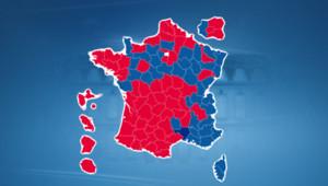 La carte indiquant les départements où Nicolas Sarkozy et François Hollande sont arrivés en tête.
