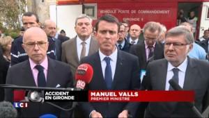 """Collision en Gironde : """"42 personnes ont péri dans d'atroces conditions"""", souligne Valls"""