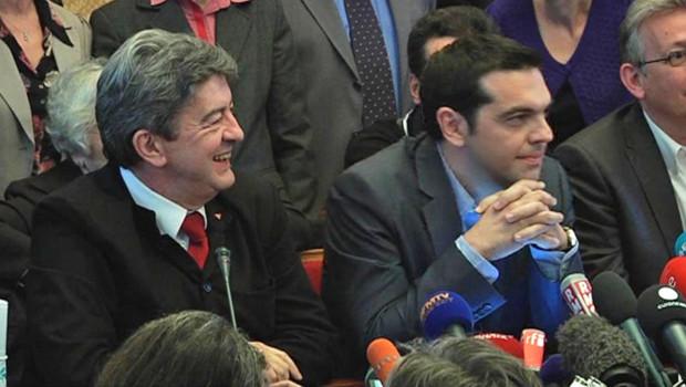 Jean-Luc Mélenchon et le leader de la gauche radicale grecque Alexis Tsipras à Paris le 21 mai 2012.