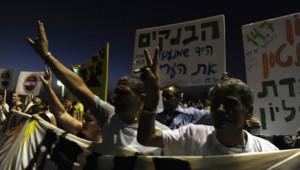 """Manifestation des """"indignés"""" israéliens à Tel-Aviv (14 juillet 2012)"""