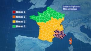Carte de vigilance météorologique de Météo France du 15 juin 2010