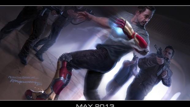 Iron Man 3 avec Robert Downey Jr. Un dessin réalisé par l'artiste concepteur Ryan Meinerding.