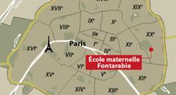 Carte de localisation de l'école maternelle Fontarabie (Paris 20e)