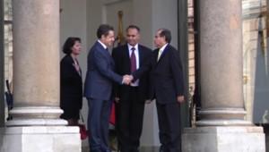 Des émissaires du CNT reçus à l'Elysée par Nicolas Sarkozy, le 10 mars 2011.