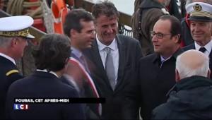 François Hollande à bord de l'Hermione avant le grand départ