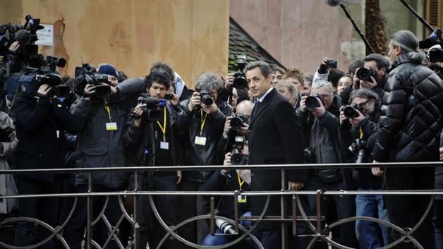 Nicolas Sarkozy le 16 février 2012 à Annecy UMP présidentielle Hollande