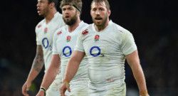 Rugby : les joueurs anglais Chris Robshaw (1er plan), Geoff Parling (second plan) et Courtney Lawes (dernier plan)