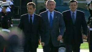 Sarkozy Bush Barroso Camp David