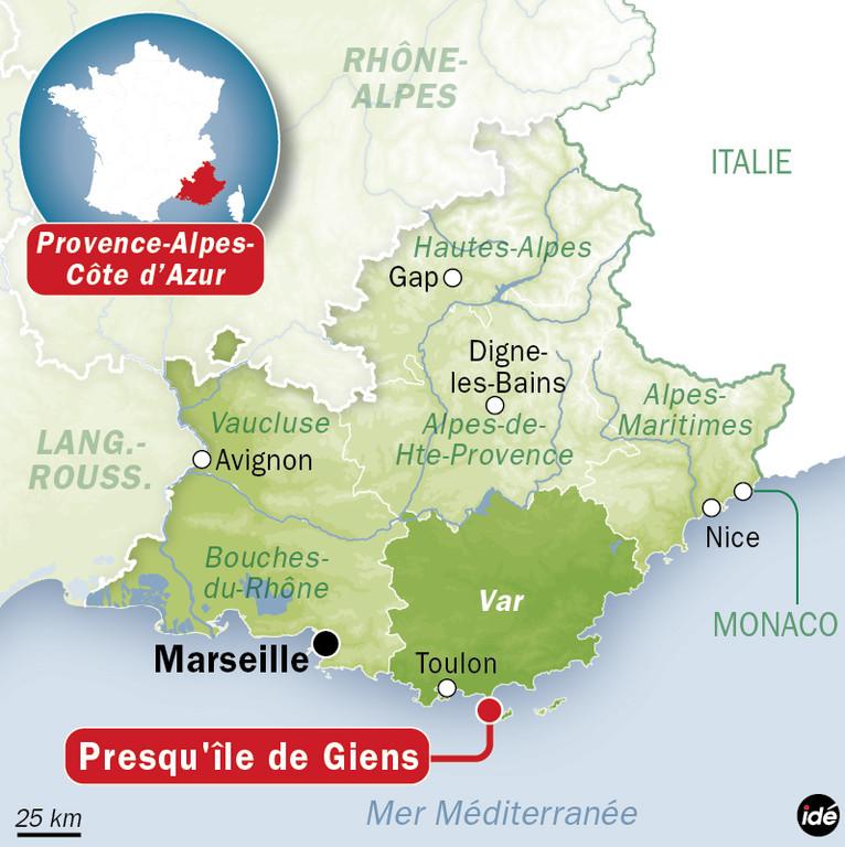 Carte de situation de la presqu'île de Giens, au large de Toulon