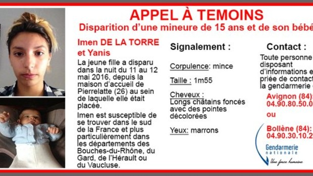 Appel à témoins de la gendarmerie nationale pour retrouver Imen de la Torre et son bébé